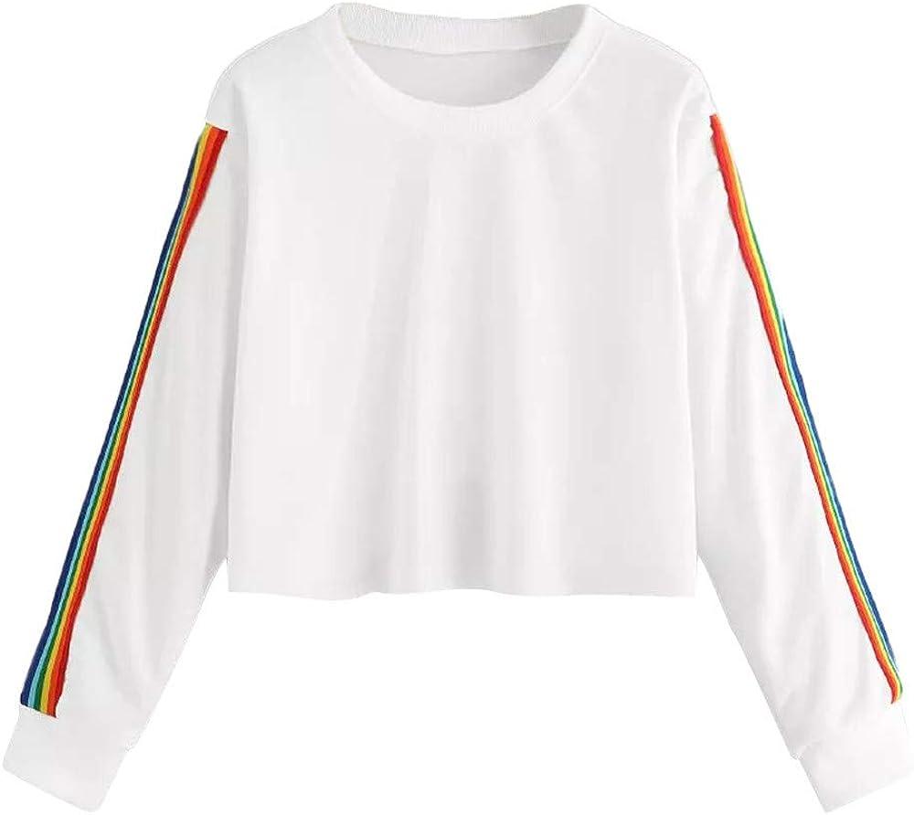 Sale WUAI-Women Long Sleeve Crewneck Stripe Sweatshirt Tunic Recommendation Fit Slim