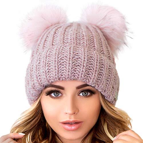 Braxton Beanie Women - 2 Pom Cable Knit Winter Warm Fleece Hat - Wool Snow Cuff Pink Ski Cap