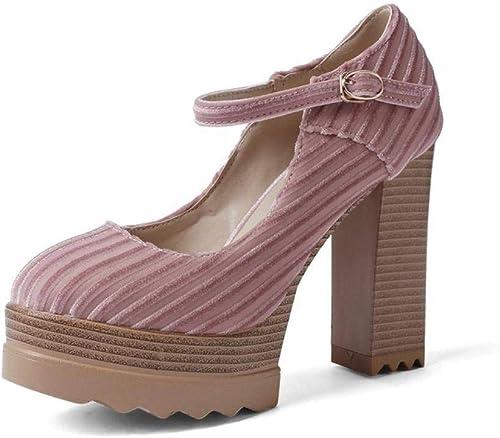 YTTY Talon épais Chaussures Talons Talons Hauts Grid Faible pour Femmes Grande Taille, Rose, 37  contre authentique