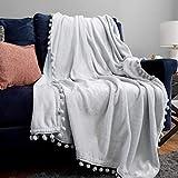 Bedsure Fleece Throw Blanket Pom Pom Blankets - Light Grey Throw Blanket for Couch - Cute Cozy Plush Throw Blanket Twin Size (Light Grey , 60' x 80')