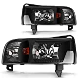 DWVO Headlight Assembly Compatible with 1994-2001 Dodge Ram 1500/94-02 Dodge Ram 2500 3500 Black Housing without Drl