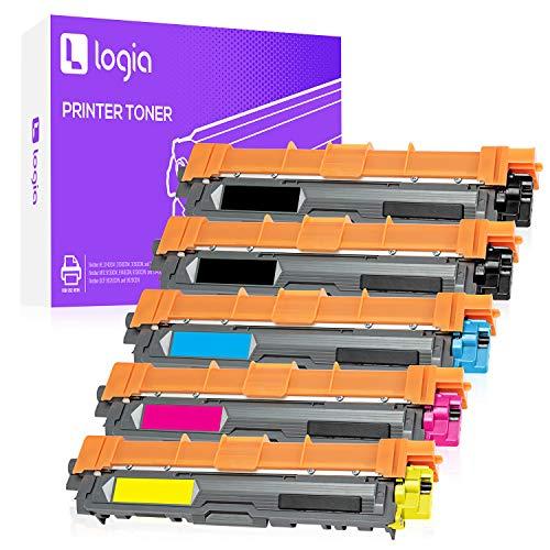 Logia 5 cartuchos de tóner para impresora, repuesto compatible con los modelos Brother TN221 y...