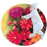 Alfombra redonda de 3 pies de diámetro interior margaritas tulipanes geranios suave sala de estar dormitorio alfombra única mujer yoga Mat decoración del hogar