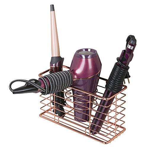 mDesign Soporte para secador de pelo – Organizador de baño de pared con 3 compartimentos – Estante multifunción para secador, rizador eléctrico y plancha – rojo dorado