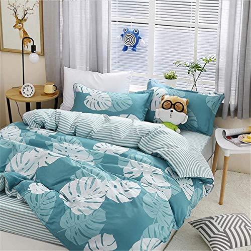 WHSS Juego de funda de edredón de 4 piezas, diseño de dibujos animados, con 2 fundas de almohada, 1 funda de edredón y 1 sábana de cama, color azul y blanco