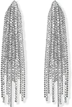 Humble Chic Simulated Diamond Earrings - Oversized Darling Waterfall Tassel CZ Statement Chandelier Studs, Cascade Silver Tone
