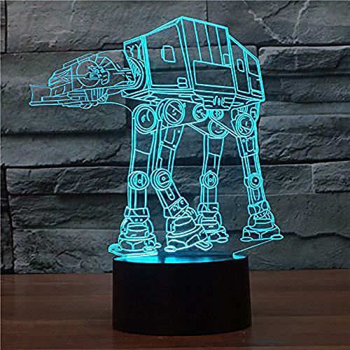 DENVOE - Lámpara de Noche con iluminación óptica, diseño de Star Wars AT-AT, 7 Colores cambiantes, botón táctil USB, luz LED para Escritorio, Mesa, luz de Noche, para Regalos de Navidad para niños