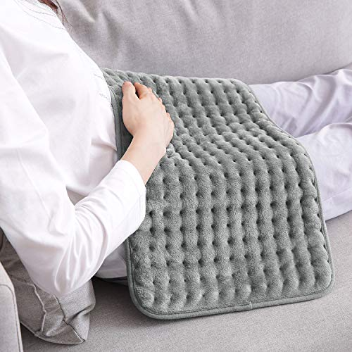 Heizkissen mit Abschaltautomatik für Rücken Nacken Schulter Elektrisch Wärmekissen 6 Stufen Temperaturstufen Schnell Heiztechnik Schmerz Lindern Grau