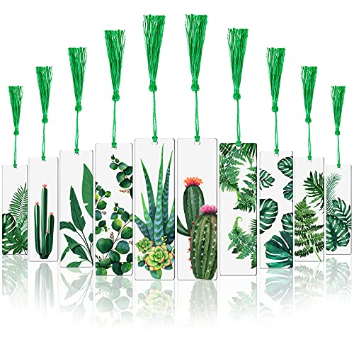 10 Pieces Acrylic Tassel Bookmarks Resin Plant Bookmark with 10 Pieces Green Tassels Plant Reading Transparent Bookmark for Students Reading Book Lovers Presents