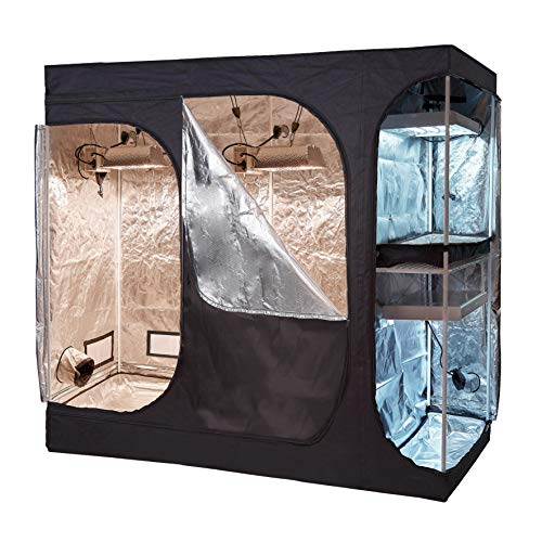 """BloomGrow 108''x48''x80'' 2-in-1 Hydroponic Indoor Grow Tent Room Propagation High Reflective 600D Diamond Mylar Growing Plant w/Metal Corner (108""""X48""""X80"""" (2-in-1) Lodge Propagation Tent)"""