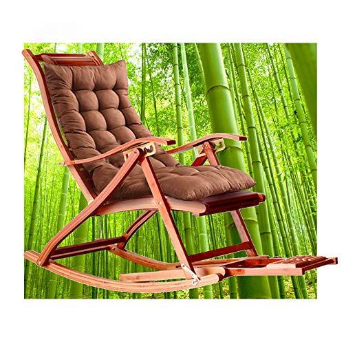 HT Schaukelstuhl, Schaukelstuhl Aus Bambus, 5-Fach 170 ° Rückenverstellung, Fußmassage Und Einziehbare Fußstütze, Liegetuhl, Der Je Nach Sonne Seine Farbe ändert. Tragen Von 300 Kg (Braun)