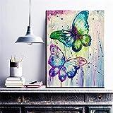 BZCBX Impresión en Lienzo Mariposa Verde Violeta Impresion en Calidad Fotografica Arte Moderno de la Pared de la Sala de Estar Listo para Colgar 50x70 cm