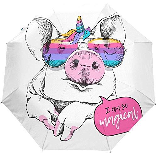 Nettes Schwein-Traumpferd-Regenbogen-Tierauto-geöffneter Regenschirm Sun-Regen-Regenschirm Anti-UV, der kompakten automatischen Regenschirm faltet