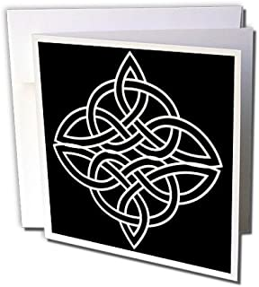 3dRose White Celtic Design On A Black Background - Greeting Cards, 6 x 6 inches, set of 6 (gc_44278_1)