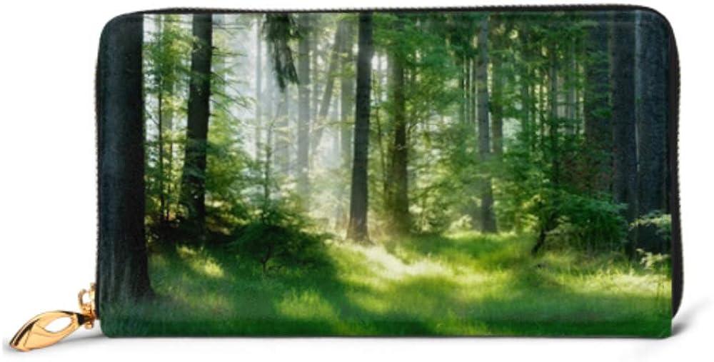 Fashion Handbag Zipper Wallet Natural Forest Spruce Trees Sunbeams Through Phone Clutch Purse Evening Clutch Blocking Leather Wallet Multi Card Org
