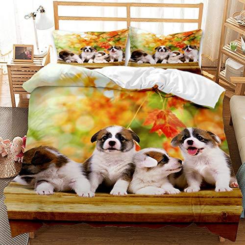 QIAOJIN Juego de ropa de cama 3D de gatos y perros, 100% microfibra, estampado de animales en 3D, bonita funda nórdica y funda de almohada con cremallera, para niños y niñas (200 x 200 cm)