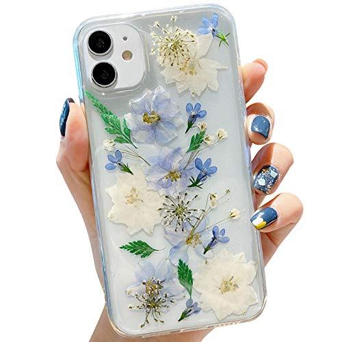 Tybiky - Cover per iPhone 12 Mini, con fiori secchi, in silicone morbido, ultra sottile, con fiori secchi, per iPhone 12 Mini, colore: Viola e Bianco
