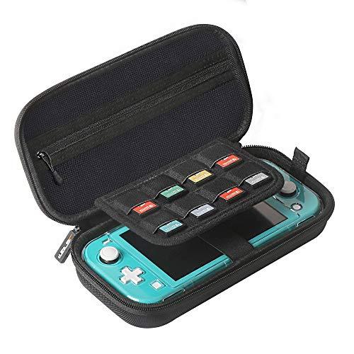 JSVER Case voor Nintendo Switch Lite, Draagtas voor Switch Lite Beschermhoes met Karabijnhaak voor Gamecartridge en Accessoires Zwart