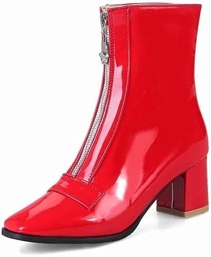 ZHRUI Calzado de damen - Stiefel de tacón Alto británicas Stiefel de Cremallera Gruesas con Stiefel cálidas 34-44 (Farbe   rot, tamaño   EU 40)