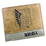 ASLNSONG Leather Bifold Short Wallet With Coin Pocket Cartoon Casual Short Wallet Fan Accessory For Boys And Girls 4.72in x 3.9in (Attack on Titan)