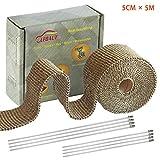 LEDAUT(レダホト) サーモ バンテージ 耐熱800度 玄武岩繊維 断熱布 やけど予防 テープ バンテージ 断熱布 ステンレ バイク マフラー 結束バンド付き 幅 (5CMX5M)