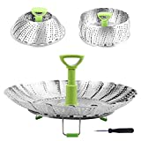 RKPM Stainless Steel Folding Steamer Basket for Vegetable Fish Seafood Cooking, Expandable to
