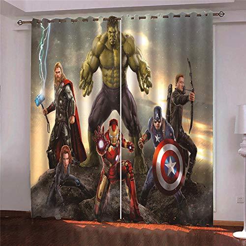 Vorhang Blickdicht Gardinen 3D Gedruckt Verdunkelungsvorhang Wärmeisolierte mit Ösen 2Er Set H 166Xb 150cm Fenstervorhänge Marvel Avengers für Kinderzimmer Wohnzimme