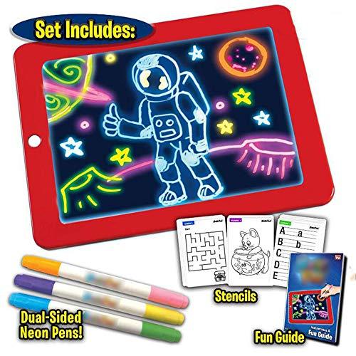 MARFUNY Tablero de Escritura LED mágico 3D, Creative Art Magic Board Pad con lápiz Pincel de Dibujo, Tablero de Dibujo portátil de Alta tecnología para niños, Tableta de Aprendizaje