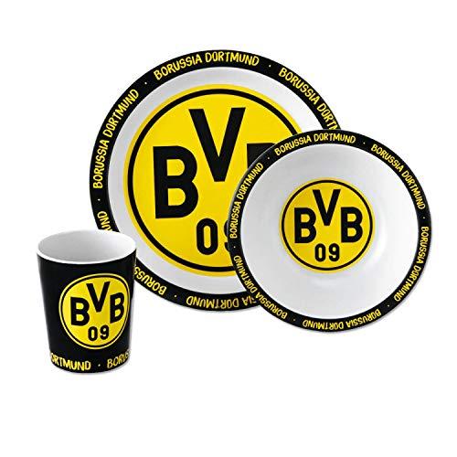 Borussia Dortmund bamboe servies, servies 3-delig kom, bord, beker BVB 09 - Plus bladwijzer I Love Dortmund