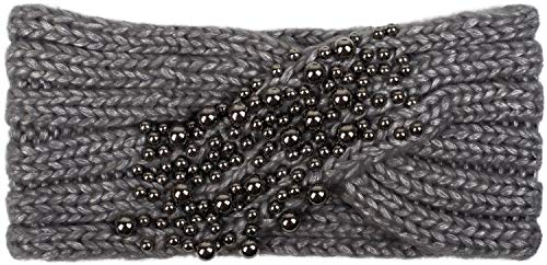 styleBREAKER Damen Strick Stirnband mit Twist, Knoten und Perlen, Winter Haarband, Headband gestrickt 04026022, Farbe:Grau