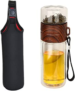 Glomiss Double Wall Glass Water Bottle Tea and Water Separation Bottle Mug Cup with Tea Infuser Home Office