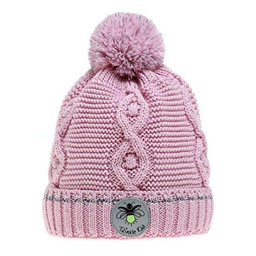 Twinkle Kid - Kinder Reflektor Mütze - Leuchtbommel Wintermütze Pink Mist Rosa 50/52