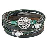 StarAppeal Wickelarmband mit Perlen, Ketten, Flechtelement und Lebensbaum Anhänger, Magnetverschluss Silber, Damen Armband (Grün)