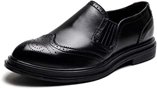 RongAi Chen Wingtip Oxfords for Men Brogue Carve Shoes Microfiber Leather Slip on Pointed Toe Non-Slip Height Increasing British Style Stitch Perforated (Color : Black, Size : 6 UK)