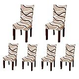 Set di 6 morbide fodere copri-sedia protettive corte, elasticizzate, in elastam, per sedie da sala da pranzo, con motivo stampato, ideali per feste, hotel o cerimonie nuziali Posate da pasto C