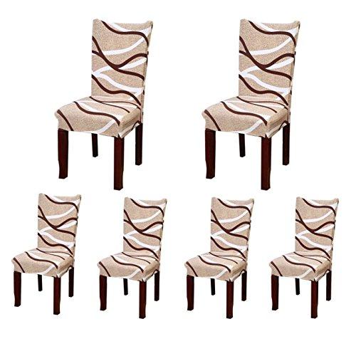 6x morbido spandex elasticizzato Fit sedie da sala da pranzo con motivo stampato, banchetto sedia sedile Slipcover per Hone party hotel cerimonia di nozze Posate da pasto C