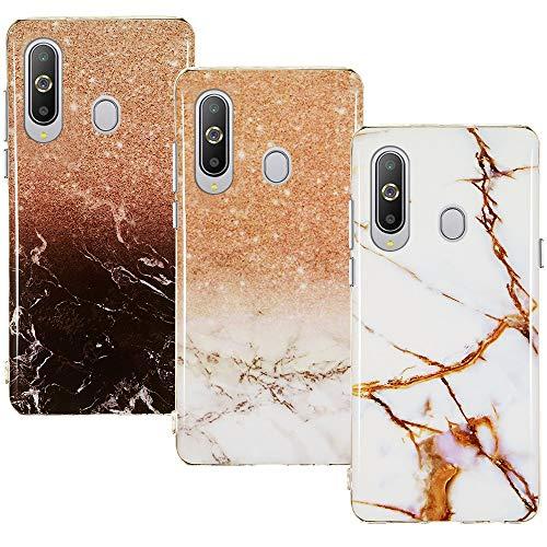 CLM-Tech Hülle 3X kompatibel mit Samsung Galaxy A8s, TPU Silikon-Hülle Hülle Schutzhülle Handyhülle 3er Set, Marmor braun weiß Mehrfarbig