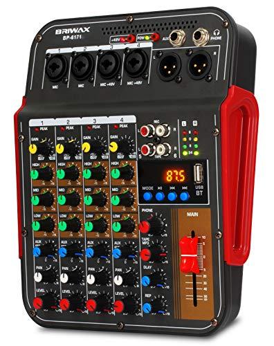 Mesa De Som 4 Canais Bluetooth Profissional Efeito Reverb Phantom Power 48 Varios Efeitos Radio Fm com Fonte para Para Dj