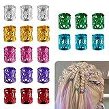 Anillos Rasta Puños de Dreadlocks de Pelo de Aluminio con Multicolores Ajustable para Accesorios de Peinado