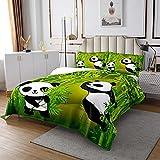 Juego de para niñas y niños con Oso Panda de Lindos Gigante Panda Juego de Verde bambú para de la habitación de Animales Salvajes Acolchado King Set 3 Piezas
