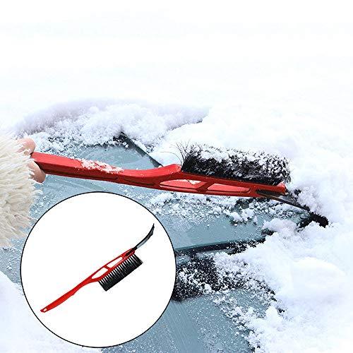 Ansenesna Eiskratzer Auto mit Besen Teleskop Kunststoff Stiel Schneeschaufel Werkzeug (Rot)