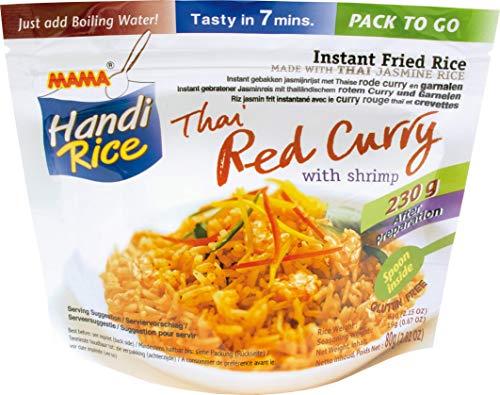 MAMA gebratener Instantreis mit dem Geschmack von rotem Curry und Shrimps – Glutenfreies Reisgericht mit beiliegendem Löffel – Für den Hunger zwischendurch – 10 x 80 g