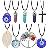 9 PCS Evil Eyes Necklace Pendant for Women Men and Girls Crystal Tree of Life Natural Leaf Filigree Glass Leather Rope Chain Turkish Protact Lucky Spiritual Energy Healing Hexagonal Necklace Sweater Chain