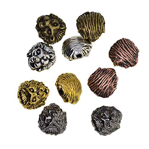 SDENSHI 10 Uds Oro/Plata/Bronce/Color Negro Aleación Lion Look Beads Fabricación de Joyas