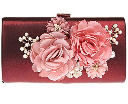 Ankoee - Bolso de mano con diseño de flores, Rojo (Vin-rouge), 22x4x12cm