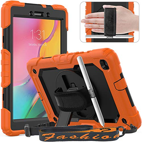 Timecity Galaxy Tab A 8.0 Protective Case (Only Fit SM-T290/T295/T297 2019 Release), Tablet Case Holder with 360° Rotating Stand, Adjustable Hand Strap and Shoulder Strap, Black/Orange