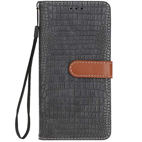 ocketcase® HOMTOM S8 Hülle, PU Leder Flip Hülle Wallet Stylish mit Standfunktion Schutzhülle (Krokodilkorn 3)