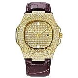 Luxury Bling Men Watch Iced out Round Crystal Relojes de Acero Inoxidable Banda de Metal Dial Reloj analógico Reloj de Pulsera de Cuarzo clásico Plata Rosa Oro Mujer Pulsera del Encanto de Hip Hop