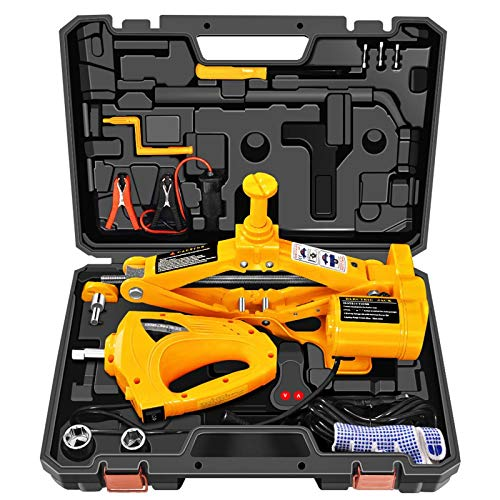 Electric Car Jack 3 Ton 12V Lifting Range 4.7-16.5inch Scissor Electric Jack with Impact Wrench for...