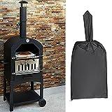 QOTSTEOS Cubierta para horno de pizza, impermeable al aire libre, tela Oxford, cubierta protectora práctica para horno de pizza de madera Cha rcoal fuego, pan de pizza (negro)